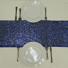 """12""""x108"""" Navy Blue SEQUIN TABLE RUNNER Wedding Party Catering Event Linens SALE"""