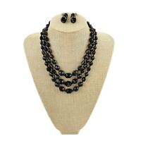 Vtg Womens Multi Strand Black Faceted Bead Statement Necklace Set Graduated