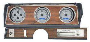 1970-72 Oldsmobile Cutlass Dakota Digital Silver Alloy Blue VHX Analog Gauge Kit