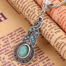 Tibetan Silver Blue Turquoise Chain Crystal beaded Pendant Necklace Jewelry ONE