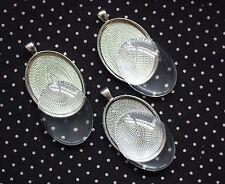 Silver Oval Bezel With Glass Oval Cabochon Pendant Kit Lot of 3 *