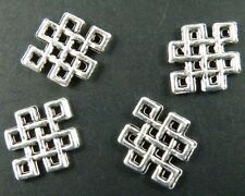 400pcs Tibetan Silver Chinese Knot Charms Pendants 12.5x10x1.2mm 194