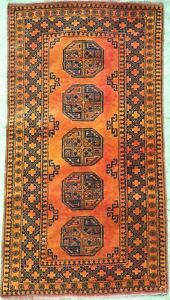 Oriental Carpet Old handmade Afghan wool rug in gold colour size 6.5 x 3.4 FT