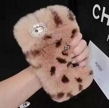 Luxury Soft Rabbit Warm Fluffy Fur Plush Wool Bling Skin Cover Case For Phones
