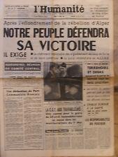 L'Humanité - (27 avril 1961) Rébellion d'Alger - Challe - Vallon Fontenil
