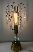 Vintage Pair of Mid-Century Brass Table Lamps with Prisms Cascade Accent Regency