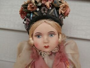 """Vintage 1920-30's All Original Lenci Felt Doll 15"""" Painted Eyes Lovely, No Tag"""