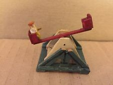 Antique 1920's Putz Erzgebirge German Handmade Wood Tetter Totter See Saw