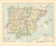 1887 ANTIQUE MAP- SPAIN AND PORTUGAL