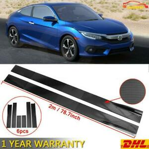 Carbon Fiber Look Side Skirts Extension Lip Rocker For 2016-2020 Honda Civic DHL
