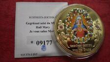 """Goldmedaille """"DIE HEILIGE MARIA"""" 2015 mit Farbe + 2 Edelsteinen - in PP !"""