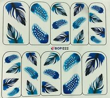 Nail Art Water Decals Pretty Blue Feathers BOP222