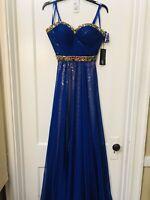 La Femme crystal embellished chiffon/sequin long dress gown purple NWT size 4