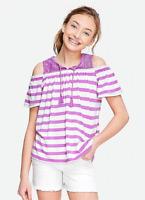 New Girls Justice Purple Top Size 12 Lace Yoke Stripe Shirt Cold Shoulder