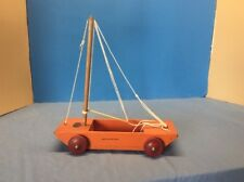 Extremely Rare Vintage Wooden Toy Tom Thumb Sail Boat Jacrim Original Paint