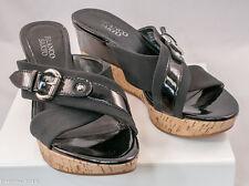 Women FRANCO SARTO BLAST Black Causal  Cork Wedge Sandals Open Toe Slip On 8.5 M