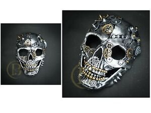 Steampunk Mask Unisex Resin Party Skull Mask (Silver)
