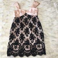 louis feraud dress Sleeveless Pink Black Lace Overlay Sheath Lined Zipper 8 EUC