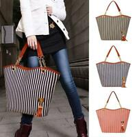 Women Striped Tassels Chain Canvas Shopping Handbag Shoulder Tote Shop Bag Gift
