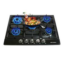 "Home Cooktops 27""/68cm Black 5 Burner Stainless Steel NG/LPG Gas Cooktop Stove"