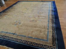 Chinese Rug Semi-Antique Art Deco Oriental 9x12 Blue Beige