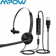 MPOW 3.5mm/USB Over-Ear Kopfhörer Stereo PC Handy Computer Ohrhörer mit Mikrofon