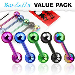 5pc Value Pack Titanium Ion Plated Steel Tongue Rings 14g Tounge Body Jewelry