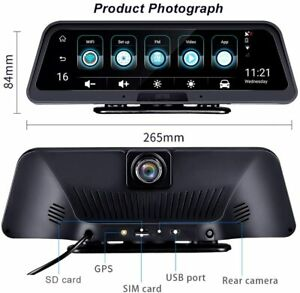 """10 """" IPS Streaming 4G Android Dual Rearview Mirror Dash Cam DVR Night Vision AU"""