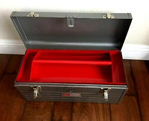 """Vintage 1970's Craftsman Steel Metal Tool Box 20""""x 8""""x 9"""" with Red Tray"""