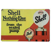 Sealed Pump Shell Oil Sign Petrol Man Cave Bar Shed Garage 30cm x 20cm
