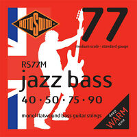 Rotosound RS77M 4 String Medium Scale  Monel Flatwound Bass Strings 40-90
