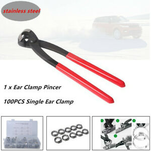 100Pcs 304 Stainless Steel Single Ear Hose Clamps with Clamp Pliers Pincer Set