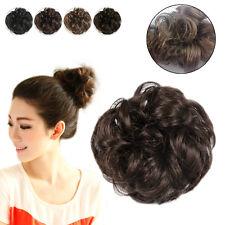 Fashion Drawstring Wavy Curly Buns Clip-In Hair Wig Girls Womens Hairpiece