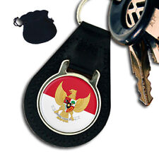 INDONESIA INDONESIAN FLAG  & EMBLEM  LEATHER KEYRING / KEYFOB