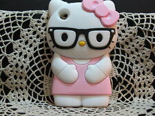 For IPod Touch 4 3D Hello Kitty Glasses Soft Silicone Case Cover - Pink