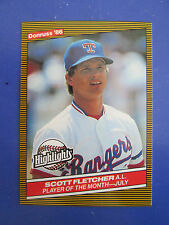 1986 Donruss Highlights ERROR WHITE LETTER Variation- Scott Fletcher #28 Rangers