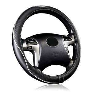 Car Steering Wheel Cover Leather Universal Black Piping Sporty Auto Accessories
