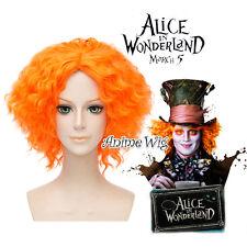 Alice in Wonderland Mad Hatter Orange Short 35CM Curly Cosplay Wig + Wig Cap