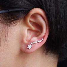 925 Sterling Silver Lovely CZ Flower Cuff Climber Crawler Cuff Earrings A4221