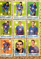 1970 Topps Team Lot of 9 BUFFALO SABRES Near Mint Phil Goyette NHL OPC