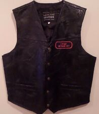 Men's Navaare Leather Co. Motorcycle Black Vietnam Vet Leather 2XL Biker Vest