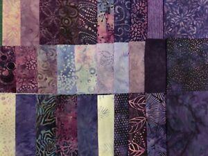 """Purple Batiks Fabric 30 Piece Layer Cake 10"""" Squares Quilt Shop Quality Cotton"""