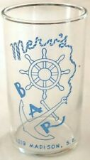 Merv's Bar Grand Rapids MI Michigan drinking glass 1950's? ONLY ONE ON EBAY