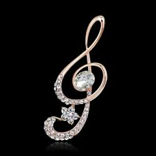 White Sapphire Crystal Glass Music Note Corsage Brooch Pin Women Party Jewelry