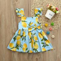 Toddler Baby Girl Infant Kids Lemon Print Sundress Clothes Princess Casual Dress