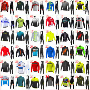 Pro Team Men Long Sleeve Bike Suit Cycling Jersey Bib Pants Sets Bicycle Outfits