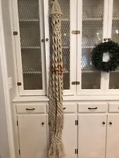 """Vintage 70s Macrame Table Hanger Cream Color with Wooden Beads Measures 75"""" Long"""