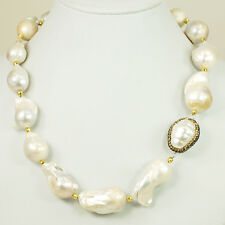 """White Freshwater Nuggets Necklace w/ Gold tone Toggle Clasp 18.5"""""""