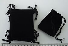 10 x black velour gift pouches / bags with drawstrings, 90mm x 70mm