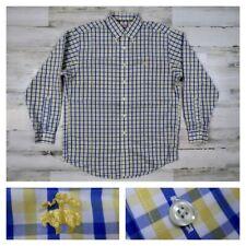Brooks Brothers Mens Medium Blue White Checks Button Front Sport Dress Shirt